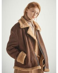 W Concept - Brown Shearling Effect Aviator Jacket Hj003 - Lyst