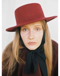 Awesome Needs - Lambs Wool Boater Hat_burgundy_face Ribbon - Lyst