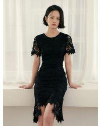 W Concept - Sentimental Middle Dress Black - Lyst