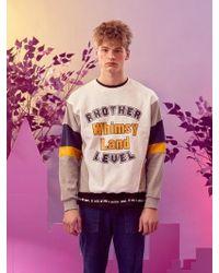 W Concept - [unisex] Whimsy Sweatshirt White Gray - Lyst