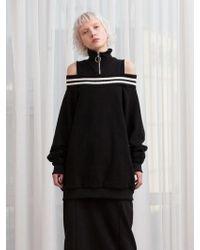 TARGETTO - Off Shoulder High Neck Sweatshirt Black - Lyst
