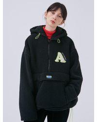 ANOTHER A - Oversized Fleece Zip Hoodie Black - Lyst