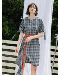 F.COCOROMIZ - Check Unbalance Slit Dress - Lyst