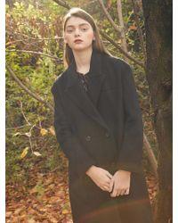 W Concept - Double Long Coat Black - Lyst