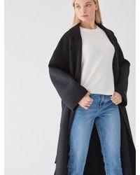 PLOT - Belted Wool Coat Goose Vest Set Black - Lyst