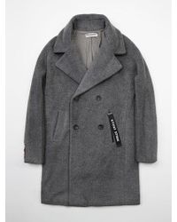 W Concept - Wool Duble Oversize Coat - Gray - Lyst