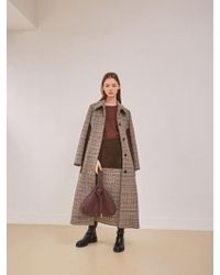 W Concept - Brown Check Coat - Lyst