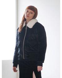 TARGETTO - Fur Collar Velvet Bluson Black - Lyst