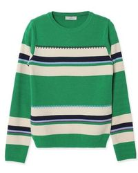 a.t.corner - Stripe Colour Blocking Knit Top Green - Lyst