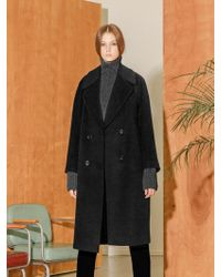 COLLABOTORY - Double Wool Coat Black - Lyst