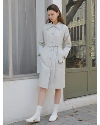 W Concept - Frill Trench Coat Light Gray - Lyst