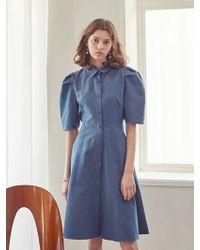 YAN13 - Soft Stripe Balloon Dress Blue - Lyst