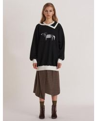 W Concept - [unisex] Wool Compact Jersey Sweater With Puppy - Lyst