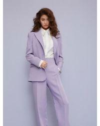 Aheit - One Button Single-breasted Blazer Lavender - Lyst