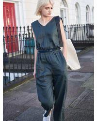 W Concept - Jp82001_cotton Linen Jumpsuit - Khaki - Lyst