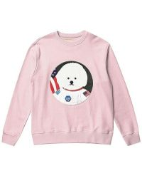 Beyond Closet - Apollo Dog Patch Sweat Shirt Indi Pink - Lyst