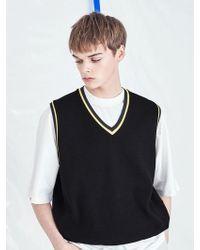 VOIEBIT - [unisex] V532 V-neck Knit Vest Black - Lyst