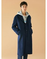 BONNIE&BLANCHE - [unisex] Warning Embroidery Long Coat Navy - Lyst
