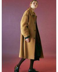 Bouton - Oversized Maxi Coat-camel - Lyst
