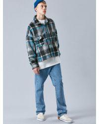 VOIEBIT - V445 Check Crop Flannel Shirts_sky Blue - Lyst