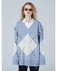 WAIKEI - Detachable Sleeve Big Argyle Knit - Lyst