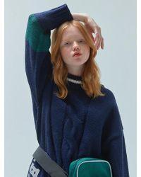 W Concept - [unisex] Half Neck Heavy Knit Navy - Lyst