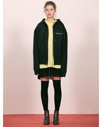 W Concept - [unisex] Black Slogan Hooded Zip-up - Lyst