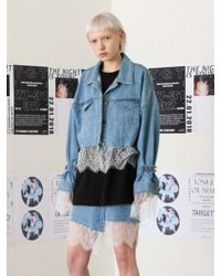 TARGETTO - Lace Layered Denim Jacket Light Blue - Lyst