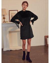 W Concept - A Velvet High Neck Dress_black - Lyst