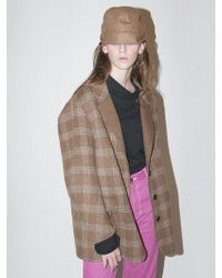 Bouton - Handmade Check Coat_camel Check - Lyst