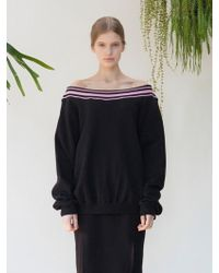 TARGETTO | Off Shoulder Sweat Shirts Black Pink | Lyst