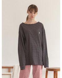 TARGETTO - Boat Neck Long Sleeve Black Stripe - Lyst