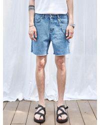 YAN13 - Marine Cutting Denim Shorts_denim - Lyst