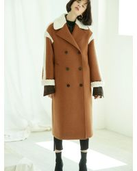 Clue de Clare - Fur Trimming Double Coat Brown - Lyst