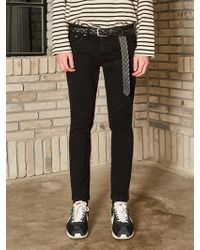 YAN13 - Label Straight Jean - Black - Lyst