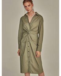 YAN13 - Cotton Twist Dress Light Khaki - Lyst