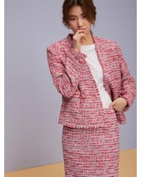 Aheit - Double Breasted Cropped Tweed Jacket Neon Punch - Lyst