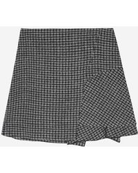 a.t.corner - Black Mixed Acrylic Check A Line Skirt - Lyst