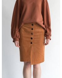 AEER - Corduroy Button Wrap Skirt Orange Brown - Lyst