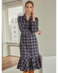 160f07f5153 Lyst - Lacoste Tartan Check Print Wool Jacquard Belted Sweater Dress ...