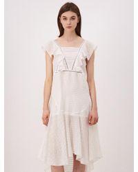 W Concept - [wxo] Gold Stripe Frill Neck Dress - Lyst