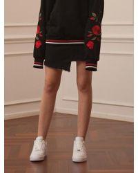 TARGETTO - Asymmetry Denim Skirt Black - Lyst