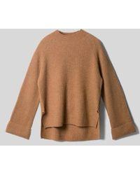 AYIHOLIC CASHMERE - Cashmere Wide Cuffs Cashmere Knit Top Camel - Lyst