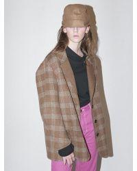 Bouton - Handmade Check Coat_camel Check - Lyst