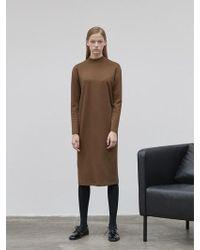NILBY P - High Neck Jersey Dress Brown - Lyst