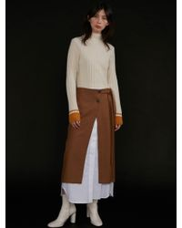 AEER - Skirt Inner Layered Slit Camel - Lyst