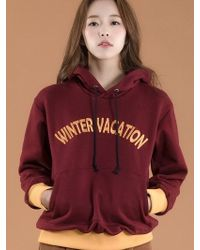 W Concept - Winter Colour Block Hoodie In Wine - Lyst