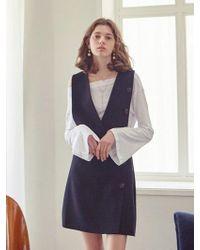 YAN13 - Button Skirt Dress Black - Lyst