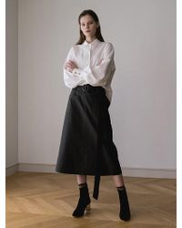 AEER - Strap A Line Cotton Skirt Green - Lyst