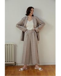 AEER - Pants Wide Big Check Linen Beige - Lyst